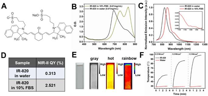 Excretable IR-820 for in vivo NIR-II fluorescence cerebrovascular